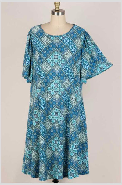 63 PSS-S {Dressed In Delight} Blue Multi-Print Dress EXTENDED PLUS SIZE 3X 4X 5X