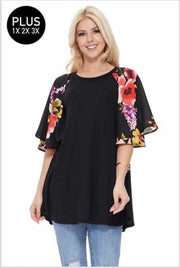 CP-T {Look At Me Now} Black Tunic with Floral Flared Sleeves PLUS SIZE 1X 2X 3X