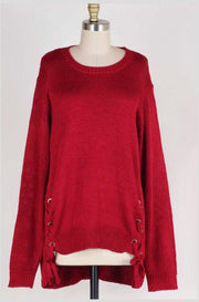 SLS-P {No Doubt About It} Burgundy Sweater Lace-Up Side Detail
