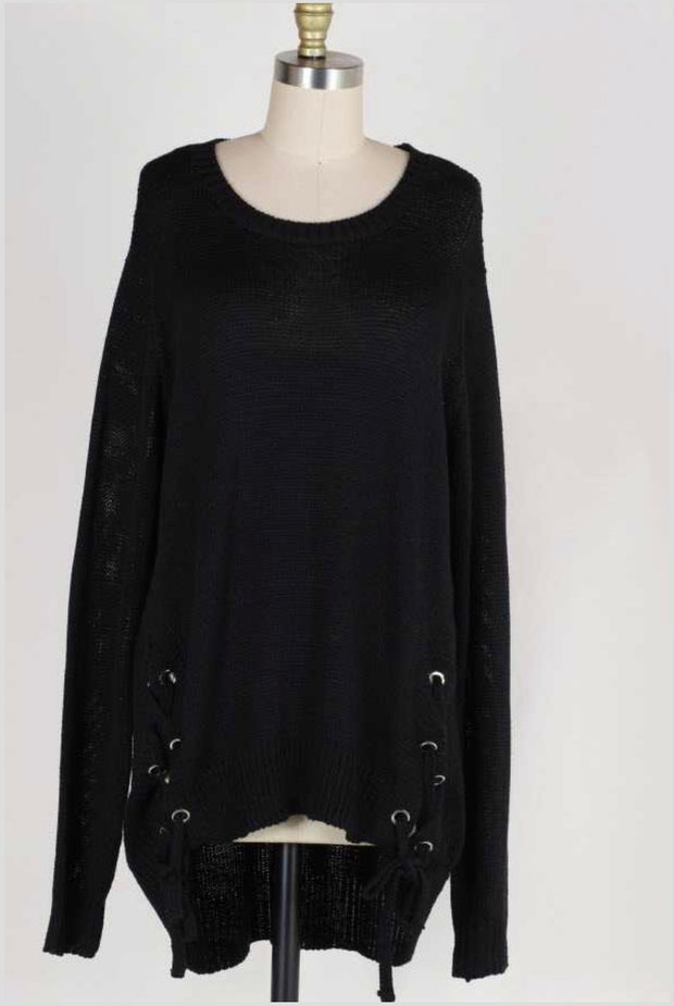 SLS-D {No Doubt About It} Black Sweater with Lace-Up Side Detail PLUS SIZE  SALE!!