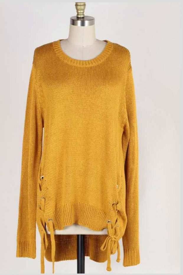 SLS-K {No Doubt About It} Mustard Sweater Lace-Up Side Detail