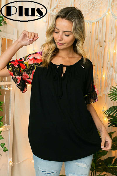 65 CP-K {Romantic Theories} Black Top with Floral Sleeves PLUS SIZE 1X 2X 3X