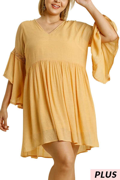"64 SQ-T  {Let the Trumpet Play} ""UMGEE""  GOLDEN YELLOW Dress with Trumpet Sleeves XL 1XL 2XL"