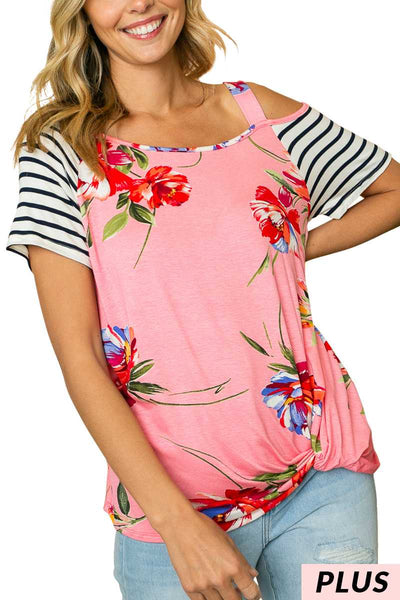 65 OS-Y {A Song About Love} PINK Floral Off-Shoulder Top PLUS SIZE 1X 2X 3X