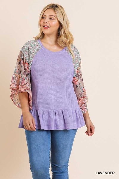 "64 CP-B {Surprise Me} ""UMGEE"" Lavender Top Floral Sleeves PLUS SIZE XL 1XL 2XL"