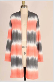 OT-X {Cozy & Content} Gray/Peach Bamboo Tie Dye Cardigan EXTENDED PLUS 4X 5X 6X