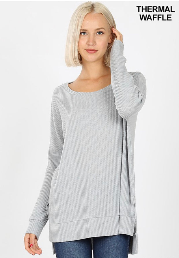 SLS-H {You Sang To Me} Gray Waffle Knit Top with Split Sides