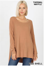 SLS-F {You Sang To Me} Eggshell Waffle Knit Top with Split Sides PLUS SIZE 1X 2X 3X SALE!!