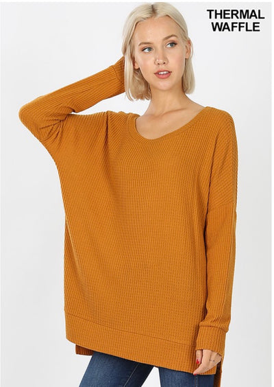 SLS-C {You Sang To Me} Camel Waffle Knit Top with Split Sides
