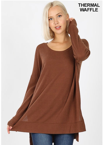 SLS-N {You Sang To Me} Brown Waffle Knit Top with Split Sides
