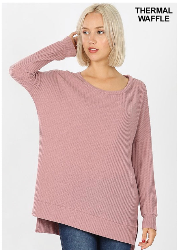 SLS-O {You Sang To Me} Mauve Waffle Knit Top with Split Sides