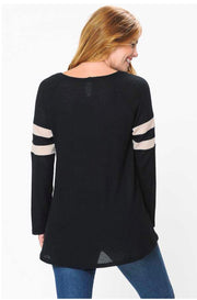 CP-B {Carefree Charm} Black Waffle Knit Top with Stripes Extended Plus  SALE!!