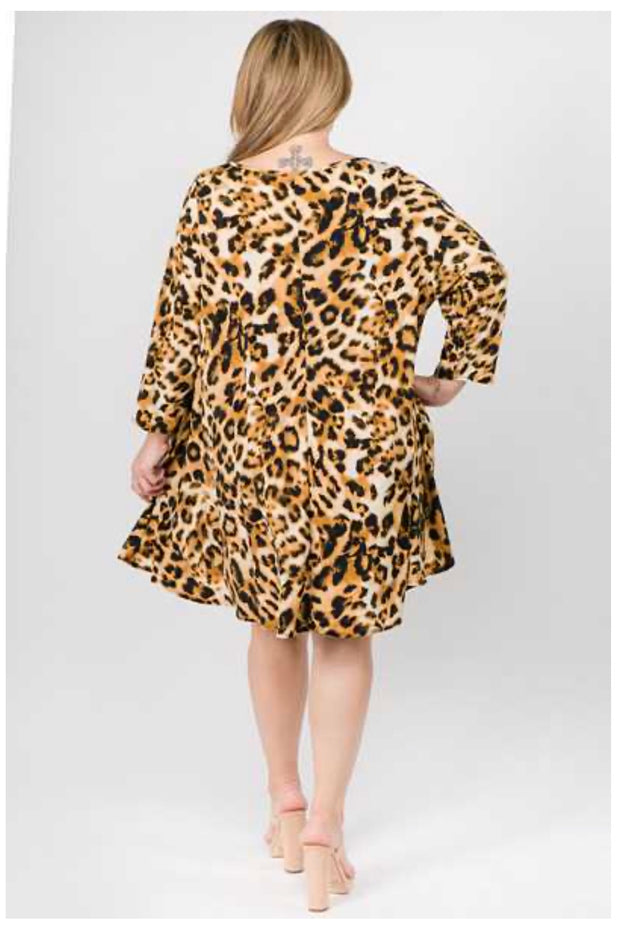 PQ-C {This Is Timeless} Cheetah Print Dress with Pockets EXTENDED PLUS SIZE 3X 4X 5X