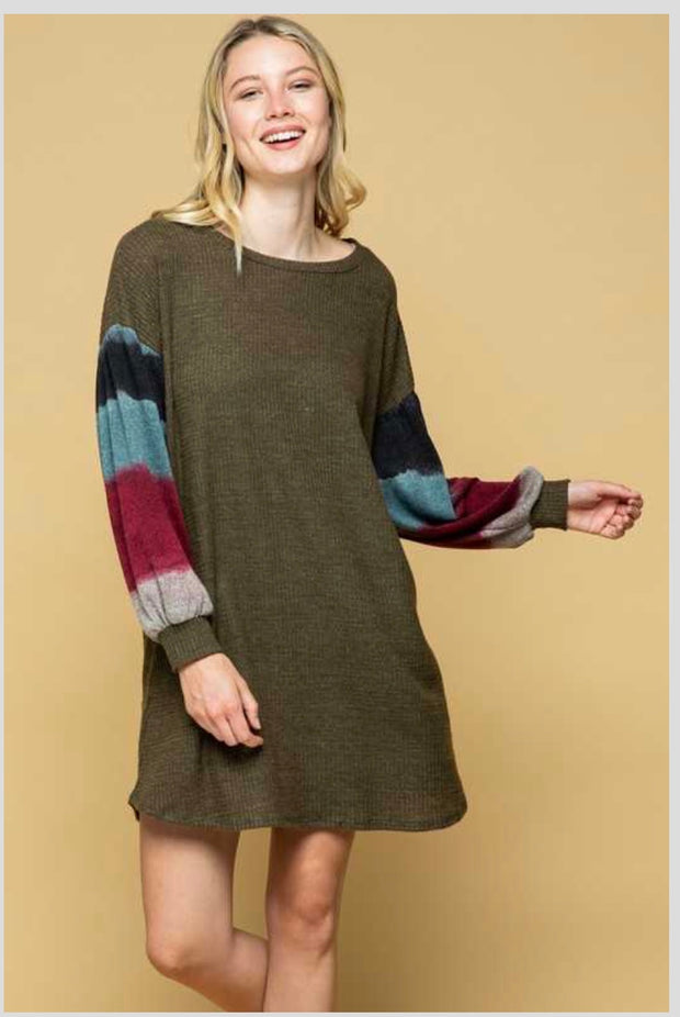 CP-G {Follow The Beat} Olive Knit Tunic with Bubble Sleeves PLUS SIZE 1X 2X 3X SALE!!