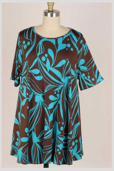 63 PSS-J {Storybook Ending} Teal/Brown Printed Top EXTENDED PLUS SIZE 3X 4X 5X