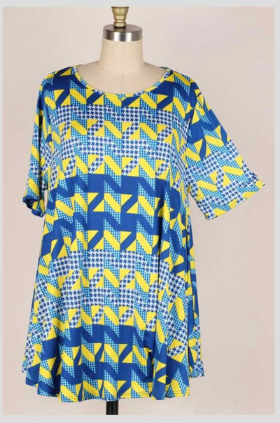 63 PSS-D {Blue Wave}  Blue/Yellow Printed Top EXTENDED PLUS SIZE 3X 4X 5X