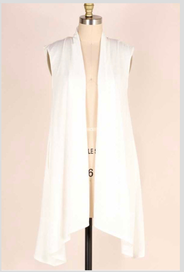 OT-F (Easy Compliment) White Asymmetrical Vest