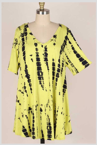 64 PSS-T {Summer Rewind} Neon/Black Bamboo V-Neck Top EXTENDED PLUS SIZE 3X 4X 5X