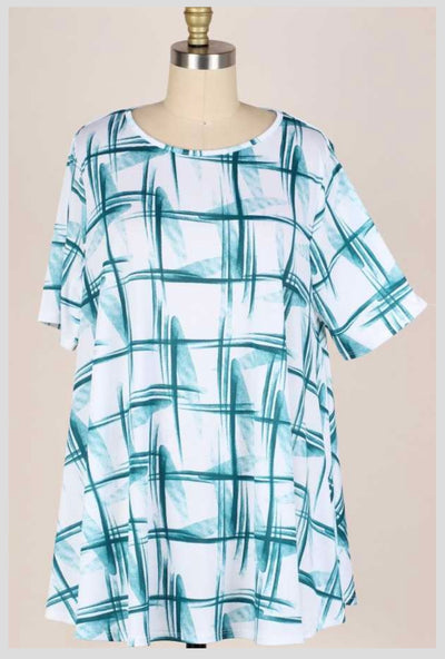 63 PSS-I {Strike My Interest} Teal/White Printed Top EXTENDED PLUS SIZE 3X 4X 5X