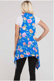 OT-F (Flower Power) Blue Vest With Floral Print PLUS SIZE 1X 2X 3X