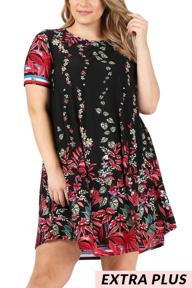 PSS-A (A Lovely Thought) Black Dress With Floral Print EXTENDED PLUS SIZE 3X 4X 5X