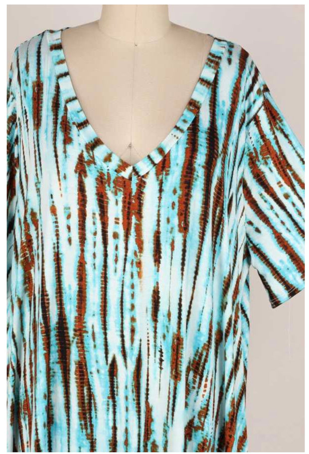 64 PSS-C {Whimsical Days} BLUE Tie-Dye V-Neck Dress EXTENDED PLUS SIZE 3X 4X 5X