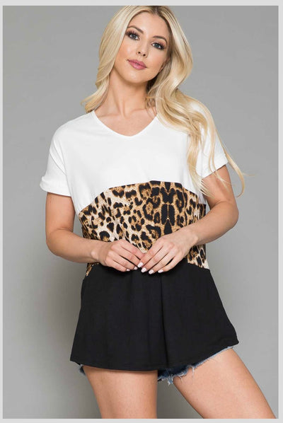 65 CP-O {Watch & Wait} Black & White Top with Leopard Contrast EXTENDED PLUS SIZE 4X 5X 6X