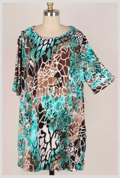 65 PSS-R {Surrounded By Love} Aqua/Teal Animal Print Top EXTENDED PLUS SIZE 3X 4X 5X
