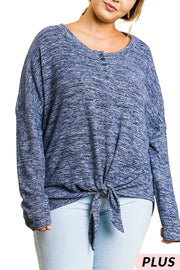 "SLS-V {Just Like That} ""UMGEE"" Heathered Blue Top"