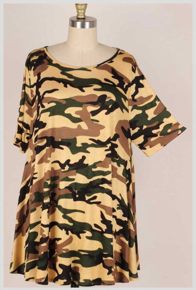 65 PSS-C {God's Country} Camouflage Print Top EXTENDED PLUS SIZE 3X 4X 5X