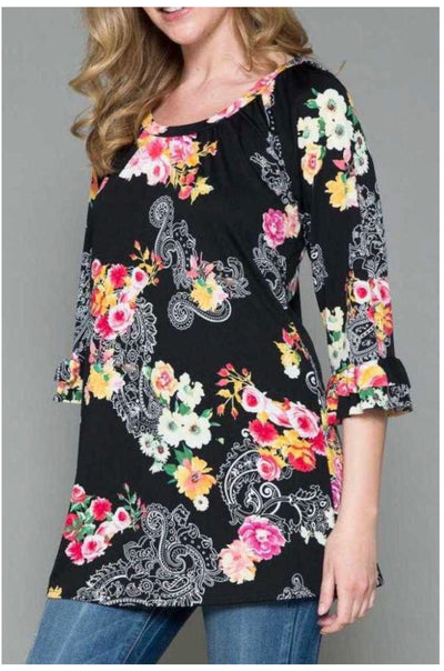 64 PQ-G {Forever Loved} Black Floral Paisley Print Top EXTENDED PLUS SIZE 4X 5X 6X