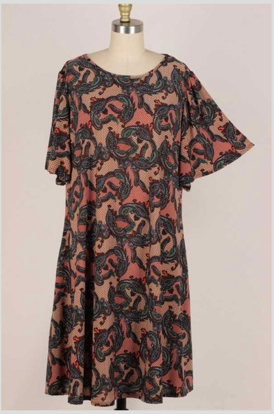 64 PQ-K {Mythical Romance} Multi-Print Dress Pockets EXTENDED PLUS SIZE 3X 4X 5X