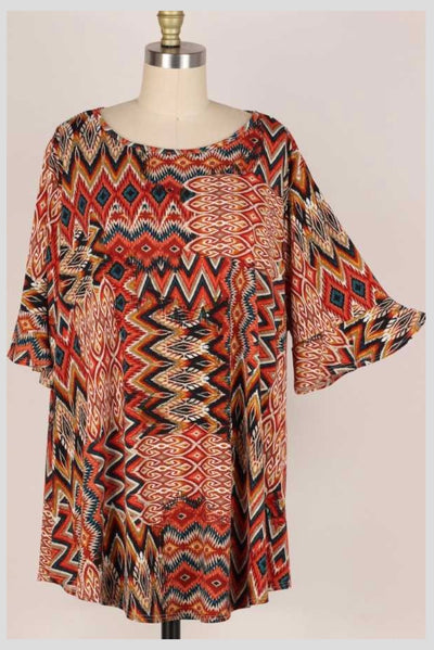 65 PSS-X {Unbreakable Connection} RUST Multi-Print Tunic EXTENDED PLUS SIZE 3X 4X 5X
