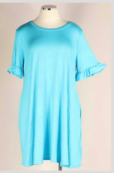 65 SSS-I {Better In A Dress} Turquoise with Ruffle Sleeves EXTENDED PLUS SIZE 4X 5X 6X
