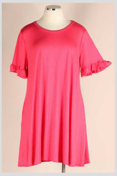 65 SSS-W {Better In A Dress} CORAL with Ruffle Sleeves EXTENDED PLUS SIZE 4X 5X 6X