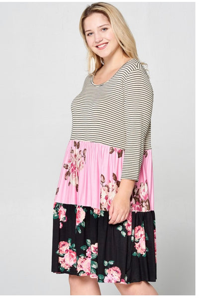 CP-O {Secret Love Song} Taupe Striped Pink Floral Dress