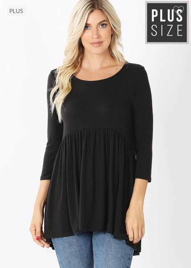 63 SQ-H {All That She Wants} BLACK Babydoll Tunic CURVY BRAND!! EXTENDED PLUS SIZE 3X 4X 5X 6X