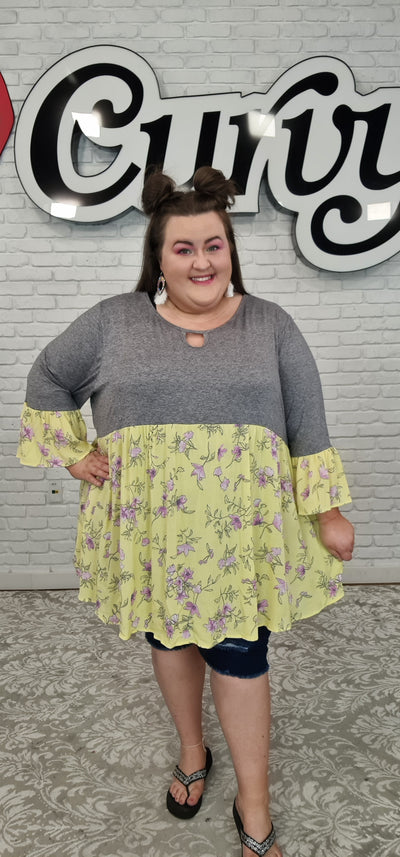 63 CP-J {One Sweet Day} Yellow Floral/Gray Contrast Top CURVY BRAND!! EXTENDED PLUS SIZE 3X 4X 5X 6X