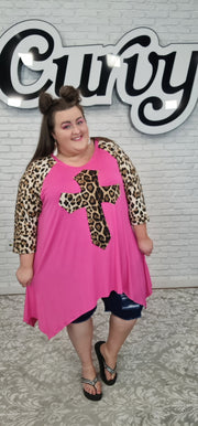 63 CP-K {Jesus, Lover Of My Soul} Hot Pink Leopard Cross Top CURVY BRAND!! EXTENDED PLUS SIZE 3X 4X 5X 6X