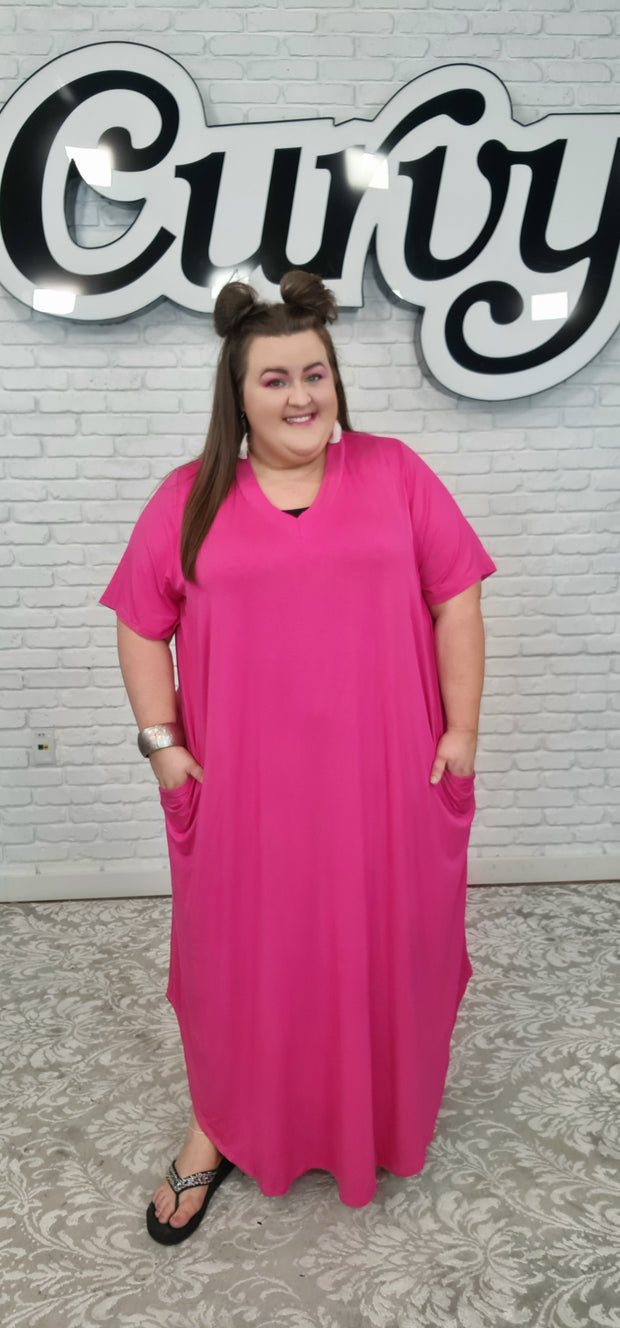 63 LD-O {Just My Imagination} Fuchsia V-Neck Maxi Dress CURVY BRAND!! EXTENDED PLUS SIZE 3X 4X 5X 6X