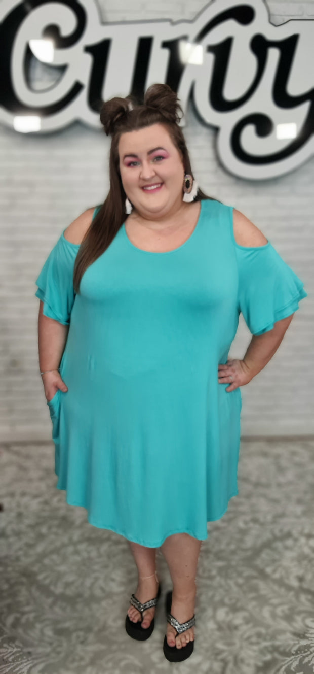63 OS-V {Feel The Breeze} Emerald Open Shoulder Dress w/ Double Ruffle Sleeves CURVY BRAND!! EXTENDED PLUS SIZE 3X 4X 5X 6X