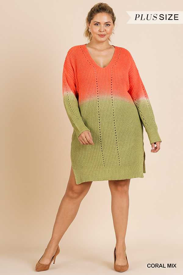 "CP-W {Find Me In L.A.} ""UMGEE"" Coral/Kiwi Sweater Dress PLUS SIZE XL 1XL 2XL SALE!!"