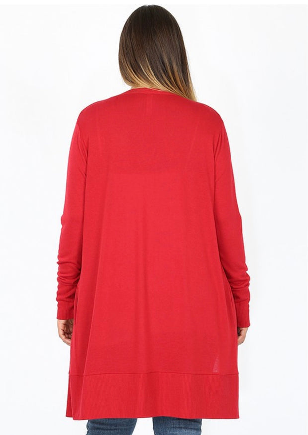 OT-B {Timeless Moves} Long Red Cardigan with Snap Front