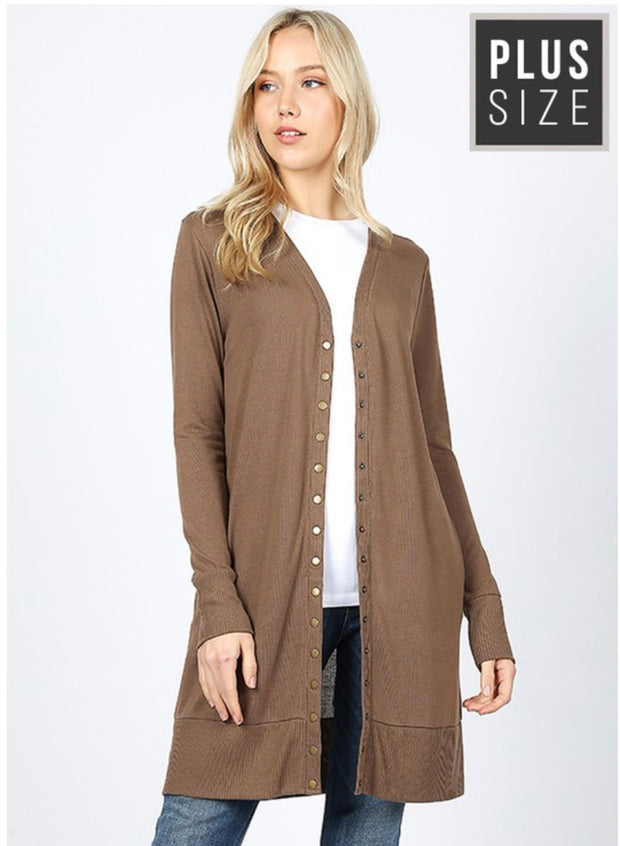 OT-D {Timeless Moves} Long Mocha Cardigan with Snap Front