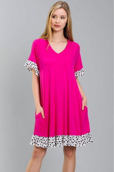 CP-F {Love Actually} Fuchsia Dress with Leopard Print Trim