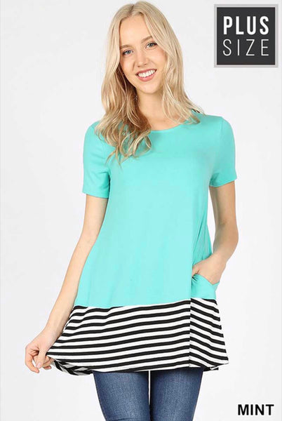 CP-B {Topsy-Turvy} Mint Striped Contrast Tunic with Pockets