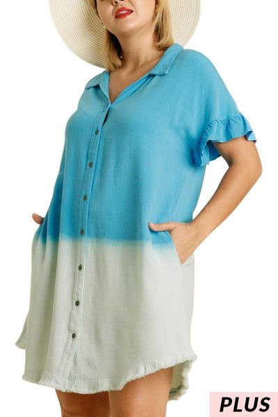 "65 PSS-K {Too Cool For You} ""UMGEE"" Dip-Dye Dress PLUS SIZE XL 1XL 2XL"