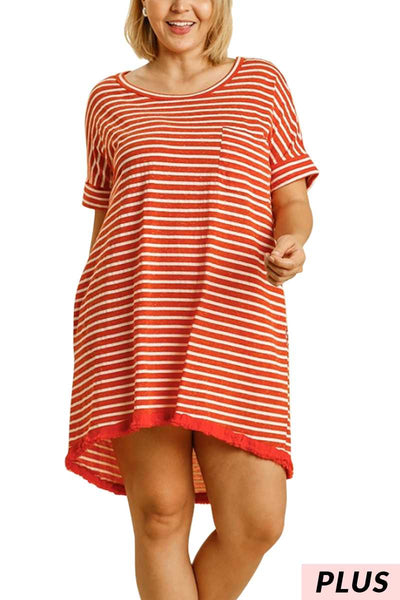 "65 PSS-J {Lookin' Good} ""UMGEE"" Striped Hi-Lo Dress PLUS SIZE XL 1XL 2XL"