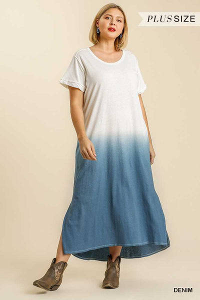 "64 LD-X {Seashell Searching} ""UMGEE"" Blue Dip-Dye Dress PLUS SIZE XL 1XL 2XL"
