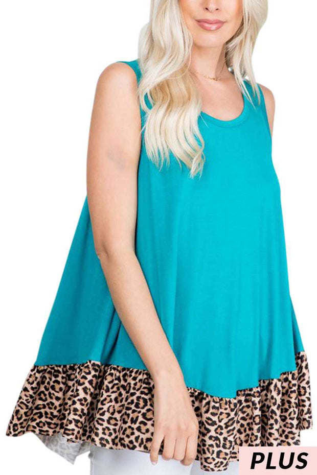 64 SV-O {Wish You Were Here} Leopard Hem Teal Tunic PLUS SIZE 1X 2X 3X